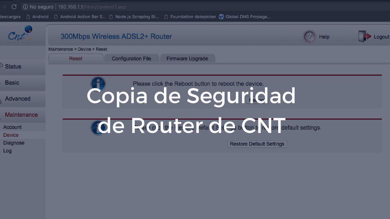 Copia de Seguridad de tu Router de CNT